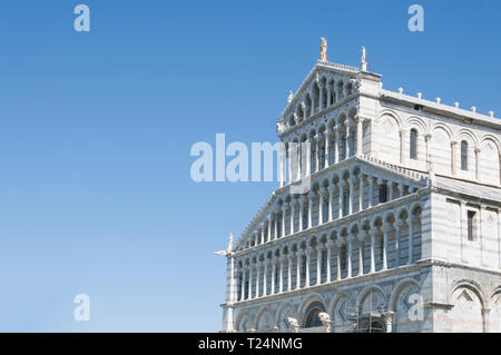Pisa, detail of the Duomo facade in Piazza dei Miracoli field - Stock Image