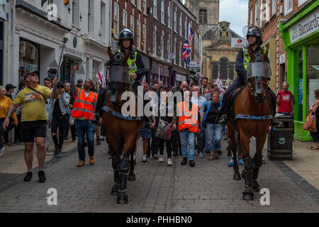 Worcester, United Kingdom. 1 September 2018. The English Defence League (EDL) held a national demonstration in the West Midlands town of Worcester, approximately 200 people attended. A counter-protest was held a short distance away with approximately 500 people. PICTURED: EDL Supporters in Worcester town centre. Credit: Peter Manning/Alamy Live News - Stock Image
