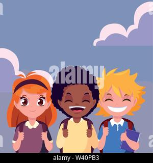 three school boys and girl with bags vector illustration - Stock Image