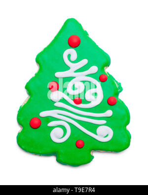 Green Christmas Suger Cookie Isolalted on White Background. - Stock Image