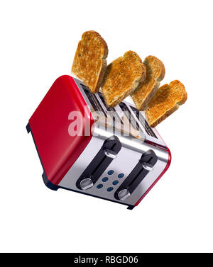 Toast popping out of a toaster, shot in a creative way - Stock Image