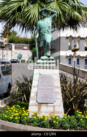 Memorial to the Gibraltar Defence Force, Casemates Square, Gibraltar - Stock Image
