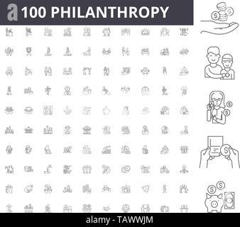 Philanthropy line icons, signs, vector set, outline illustration concept  - Stock Image