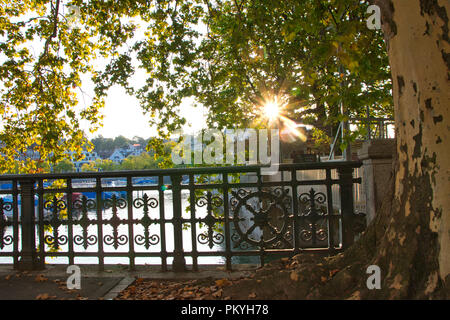 Zurich - Limmat river in the morning - Stock Image