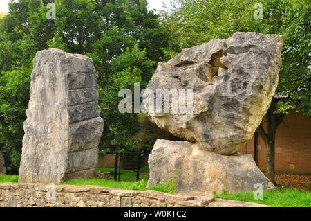 The ECOS standing stones in Frome around the amphitheatre at the Community College. left Italian Limestone and right French Limestone.Showing the spir - Stock Image