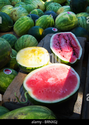 Delicious farm fresh country watermelons - Stock Image
