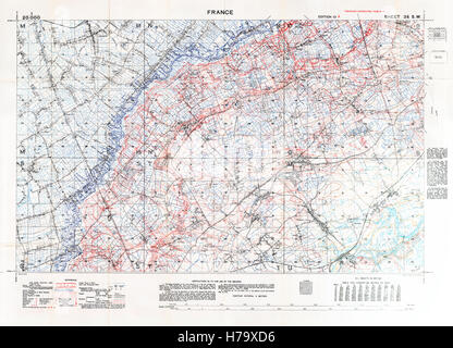 Aubers and Neuve Chapelle Battlefield Map, 1918 January Edition 10A 1:20,000 military map of the British sector - Stock Image