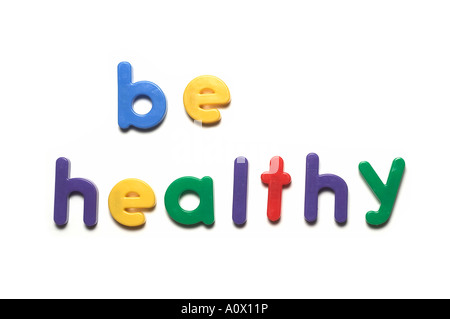 alphabet fridge magnets spelling be healthy,words - Stock Image