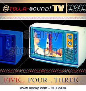 Television Apollo Missions Advertising Style Retro Vintage TV photo illustration - Stock Image