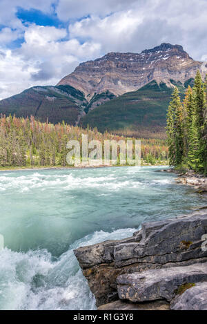 Athabasca Falls in Jasper National Park, Alberta, Canada - Stock Image