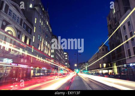 Light trails on The Strand, London, UK - Stock Image