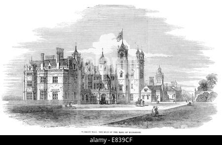 Worsley Hall the seat of the Earl of Ellesmere circa 1853 - Stock Image