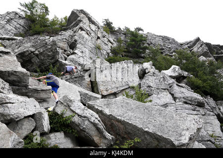 Hikers scrambling up Bonticou Crag, Mohonk Preserve, New Paltz, NY, USA - Stock Image