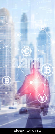 Vertical Panorama Banner. Double exposure Bitcoin and blockchain concept. Digital economy and currency trading - Stock Image
