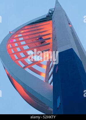 Emirates Spinnaker Tower at dusk - Stock Image