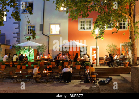Restaurants and street cafes in Rosenhof in summer , Niederdorf, Zurich, Switzerland, - Stock Image