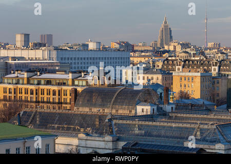 Cityscape, roof of Pushkin Museum, Moscow, Russia - Stock Image