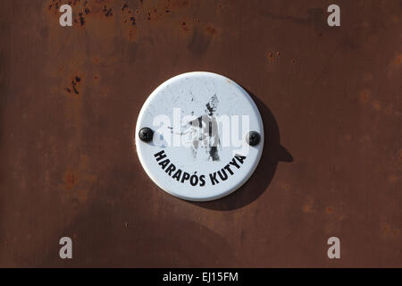 Harapos Kutya! Beware of the Dog! Warning sign in Mohacs, Hungary. - Stock Image