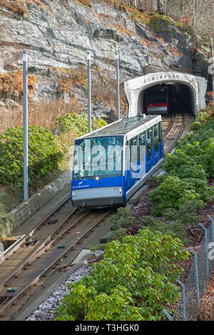Mount Fløyen funicular railway Bergen Norway - Stock Image