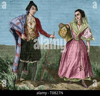 Spain. Murcian peasants. Engraving. Later colouration. Cronica General de España, Historia Ilustrada y Descriptiva de sus Provincias. Murcia, 1870. - Stock Image