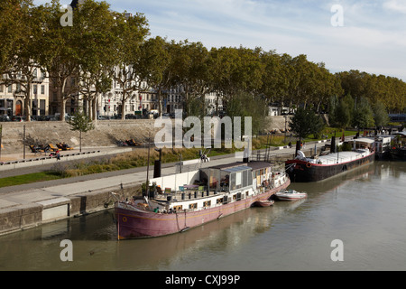 House Boat on the river in Lyon France - Stock Image
