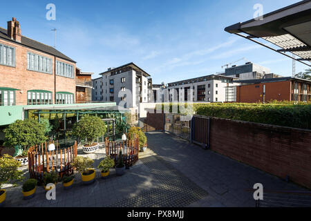 The mixed use development of restaurants and apartments off Priory Row in Coventry city centre UK - Stock Image