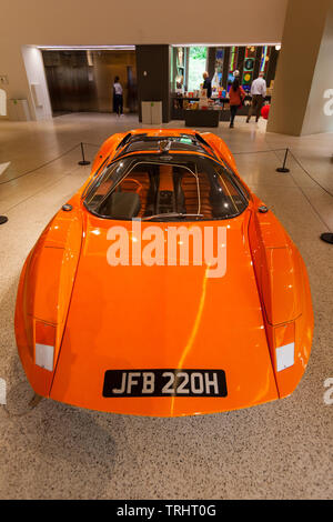 Adams Brothers Probe 16 sports car at the Stanley Kubrick exhibition, The Design Museum, Kensington, London, United Kingdom. - Stock Image