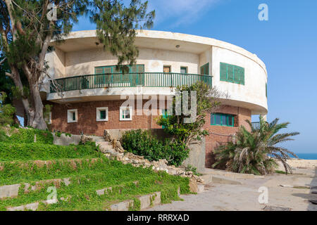 Alexandria, Egypt - April 29 2018: External shot of an old house by the Mediterranean Sea at Montaza park, known as the villa of Mr Hussein El Shafei  - Stock Image