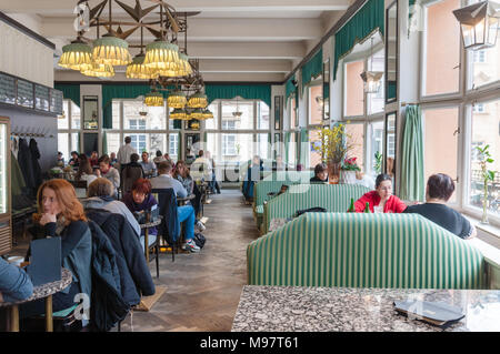 Grand Café Orient in Prgaue. The one and only café in the world built and decorated in the unique cubist style - Stock Image