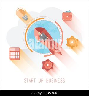 Start up business graphic with icons - Stock Image
