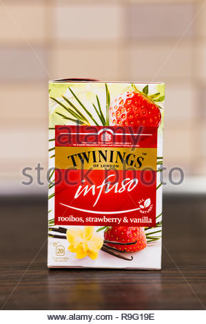 Poznan, Poland - December 23, 2018: Twinings Infuso rooibos with strawberry and vanilla flavour in a box. - Stock Image