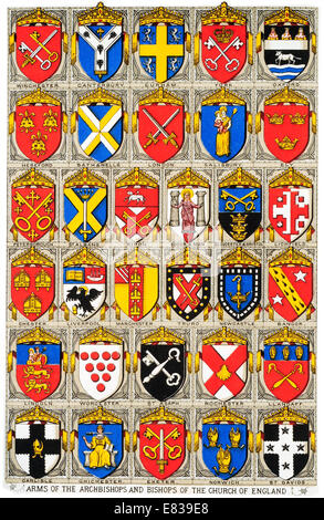 Lithograph Arms of the Archbishops and Bishops of the Church of England circa 1885 - Stock Image