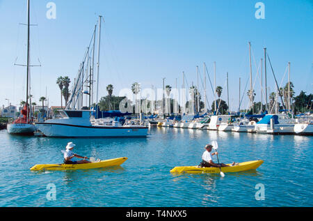 California Oxnard Channel Islands Harbor kayakers - Stock Image