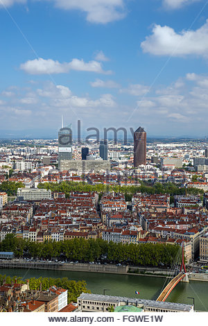 View over Lyon and the Saone river from Notre-Dame de Fourviere basilica on the Fourvière hill (France) - Stock Image