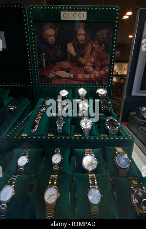Jewellers Window Display of Gucci Watches - Stock Image