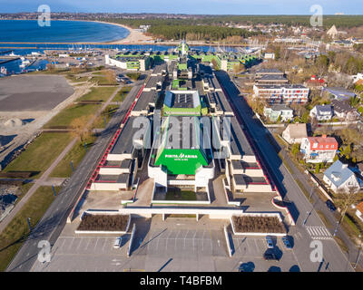Pirita Marina Hotel in Tallinn. Initially built for 1980 Moscow olympics yachting regatta. Olympic Sailing Center, in good condition and now housing ho - Stock Image