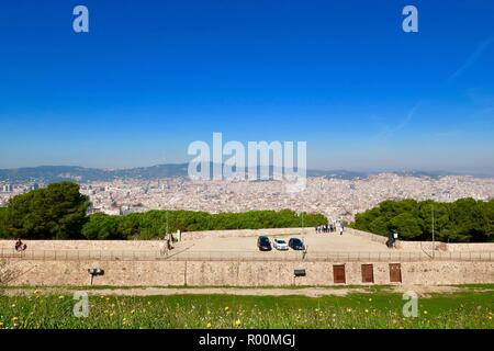 Barcelona, Spain, October 2018. View from Castle / Castell Mont Juic on a hot sunny afternoon. - Stock Image