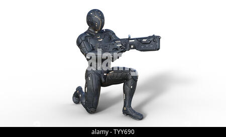 Futuristic android soldier in bulletproof armor, military cyborg armed with sci-fi rifle gun kneeling on white background, 3D rendering - Stock Image