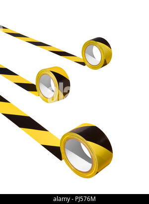Three unraveling rolls of hazard tape - Stock Image