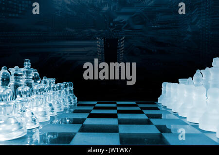 computerized chess-game, artificial intelligence and communication - Stock Image