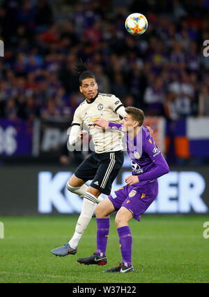 Optus Stadium, Perth, Western Australia. 13th July, 201913th July 2019, Optus Stadium, Perth, Western Australia; Pre-season friendly football, Perth Glory versus Manchester United; Chris Smalling of Manchester United wins the header against Gabriel Popovic of Perth Glory Credit: Action Plus Sports Images/Alamy Live News - Stock Image