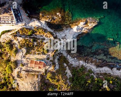 Thasos Island Two Apostles Church on the clifs near Limenas capital city of the island - Stock Image