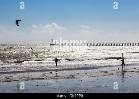 recreation on the beach at Littlehampton West Sussex - Stock Image