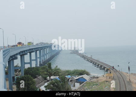 The pamban bridge and the railway bridge that connect Tamil Nadu and the island of Rameshwaram - Stock Image