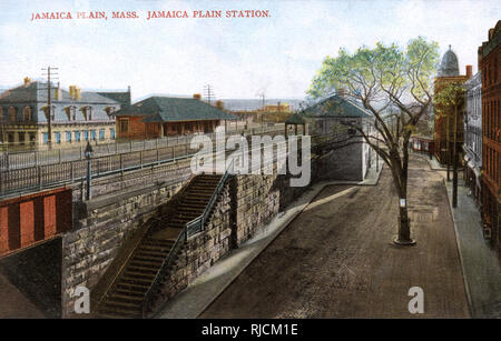Jamaica Plain Station, Jamaica Plain, near Boston, Massachusetts, USA. - Stock Image