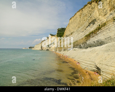 steep limestone cliff. picture taken in corfu ionian sea - Stock Image