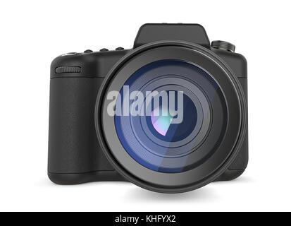 Non branded SLR camera. Generic design. Front view. 3D render. - Stock Image