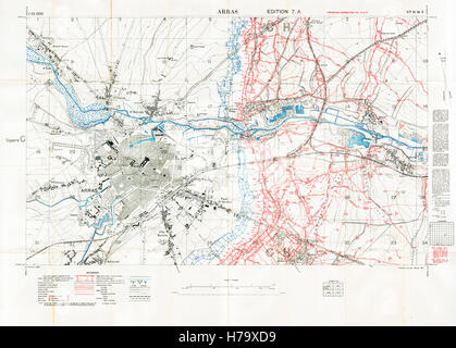 Arras Sector Battlefield Map, 1917 Edition 7A 1:10,000 military map of the British sector in Northern France, with - Stock Image