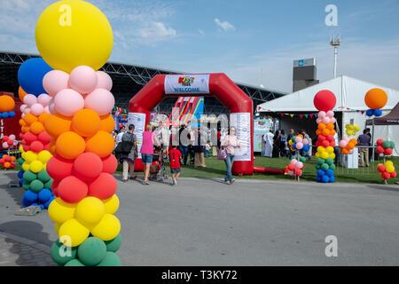 February 2, 2019 - Abu Dhabi, UAE: Colourful ballons at Yas Kids Festival Du Arena, Abu Dhabi, UAE - Stock Image