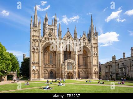 Peterborough cathedral Minster Precinct great West Front and portico of Peterborough cathedral Peterborough Cambridgeshire England uk gb Europe - Stock Image